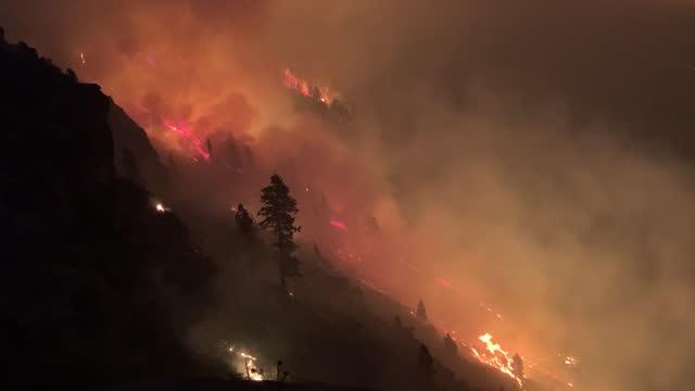 vidéos et rushes de caldor fire burning on the hillside seen from highway 50 near echo summit, ca, u.s., on monday, august 30, 2021. california's caldor fire moved... - californian sierra nevada