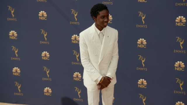 vídeos de stock, filmes e b-roll de caleb mclaughlin at the 70th emmy awards arrivals at microsoft theater on september 17 2018 in los angeles california - 70th annual primetime emmy awards