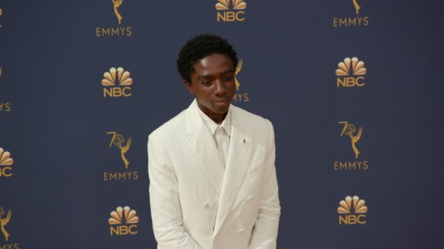 caleb mclaughlin at the 70th emmy awards arrivals at microsoft theater on september 17 2018 in los angeles california - 70th annual primetime emmy awards stock videos and b-roll footage