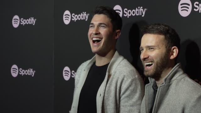 caleb shapiro and rob resnick of timeflies at the spotify's best new artist 2019 party at hammer museum on february 7, 2019 in los angeles,... - spotify stock videos & royalty-free footage