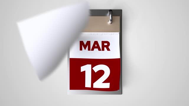 stockvideo's en b-roll-footage met kalender animatie, maart maand, nieuwjaar kalender - mar