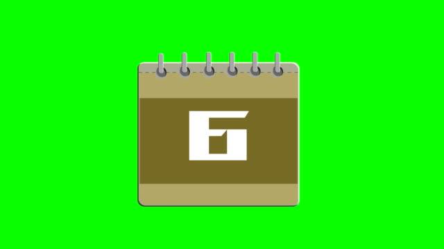 Calendar CG animation, calendar cards against the green background
