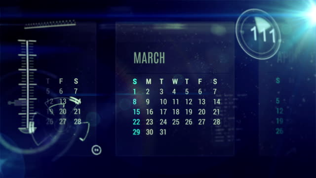 calendario digitale - temporale video stock e b–roll