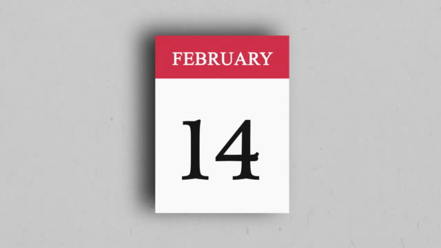 calendar page with the date of february 14th - day stock videos & royalty-free footage