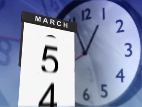 calendar pages falling and clock in motion - turning stock videos & royalty-free footage