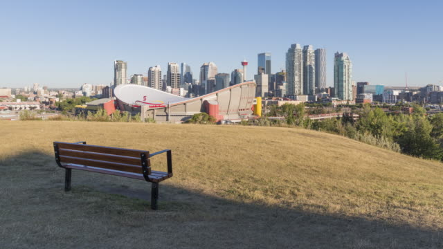 calgary in motion: chair for skyline view - bench stock videos & royalty-free footage