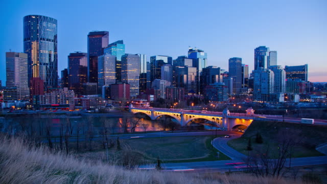 calgary time lapse sunset - downtown stock videos & royalty-free footage