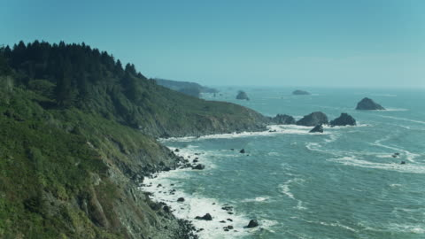 california coast near eureka - drone shot - sequoia stock videos & royalty-free footage