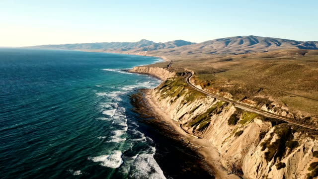 California coastline with mountains and train tracks from above