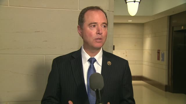California Congressman Adam Schiff tells the press after an interview between Trump White House Communications Director Hope Hicks and the House...