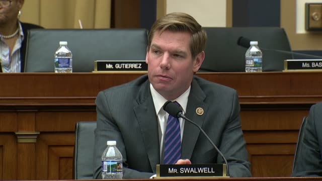 california congressman eric swalwell engages fbi director christopher wray at an oversight hearing of the house judiciary committee about how social... - christopher a. wray stock videos & royalty-free footage