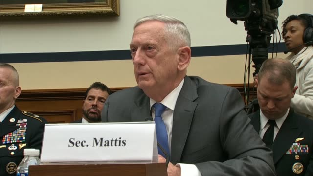 vídeos y material grabado en eventos de stock de california congressman john garamendi engages defense secretary jim mattis at the house armed services committee hearing over the precise legal... - departamento de defensa
