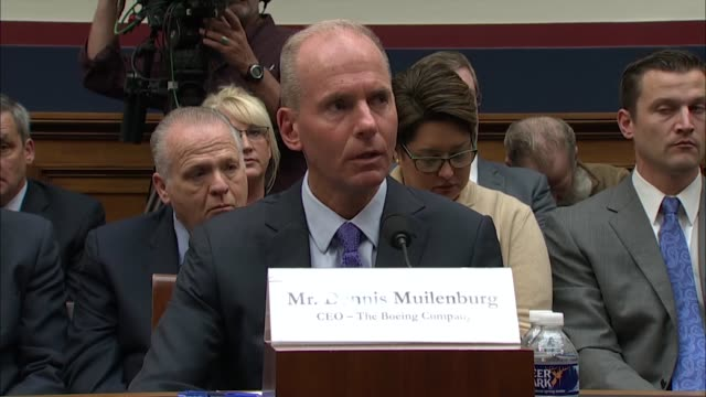 california congressman john garamendi tells president and ceo dennis muilenburg at a house transportation and infrastructure committee hearing about... - boeing stock videos & royalty-free footage