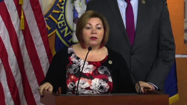 California Congressman Linda Sanchez tells reporters at a news conference that she was frustrated and disappointed that Republican leaders would...