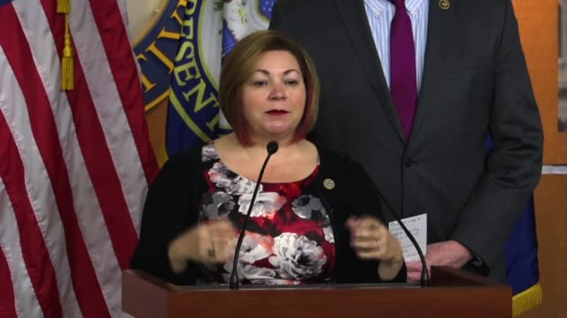 california congressman linda sanchez tells reporters at a news conference that the american people got a pretty nasty valentine's day gift from... - medicaid stock videos and b-roll footage