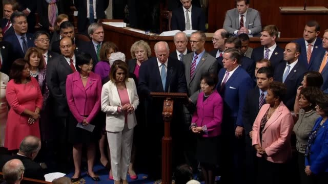 California Congressman Mike Thompson speaks in the well of the House with members of the California date delegation to tell colleagues that some...