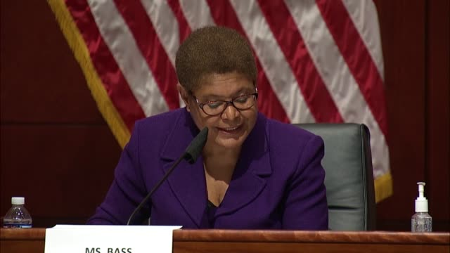 california democrat karen bass, chair of the congressional black caucus, says at a house judiciary committee hearing with george floyd's brother and... - reform stock-videos und b-roll-filmmaterial