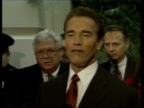 california forest fires death toll rises; pool via agency washington: int cms arnold schwarzenegger speaking to press sot - arnold schwarzenegger stock-videos und b-roll-filmmaterial