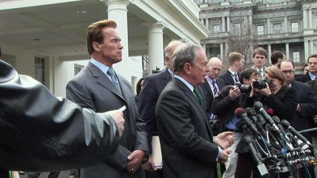 California Governor Arnold Schwarzenegger and Pennsylvania Governor Ed Rendell also attend press conference