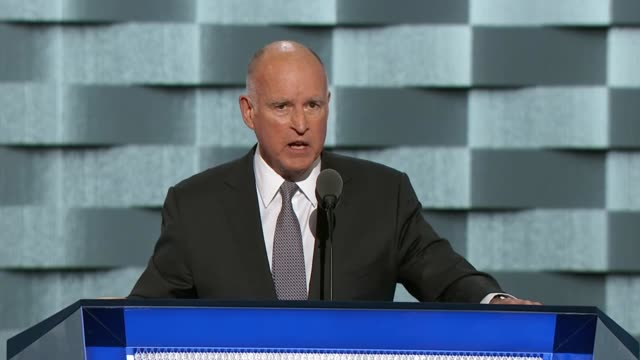 California Governor Jerry Brown discusses climate change at the convention telling delegates that the threat of climate change is global that climate...