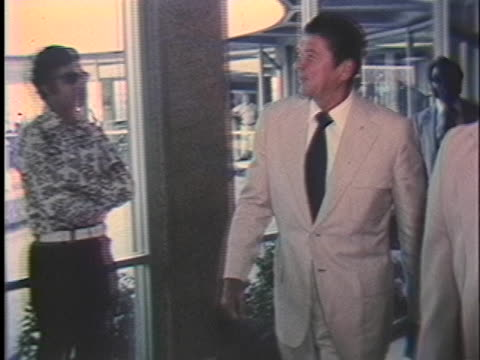 california governor ronald reagan arrives for a press conference on the european security conference. - united states and (politics or government) stock videos & royalty-free footage