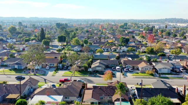 california homes flyover - residential district stock videos & royalty-free footage