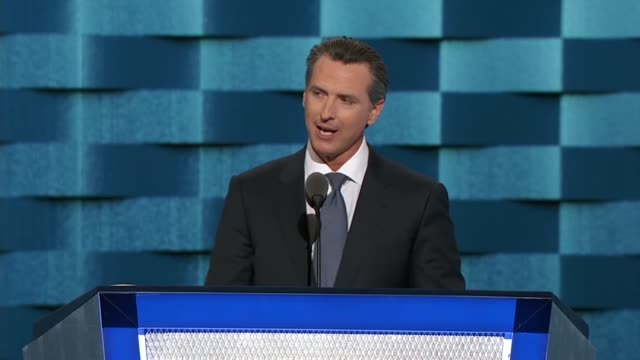 California Lieutenant Governor Gavin Newsom tells convention delegates his state is proimmigrant proenvironment prowomen proworker and proudly LGBT...