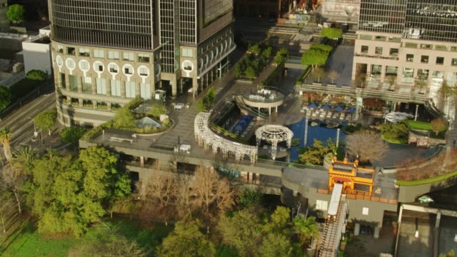 California Plaza and Angel's Flight Funicular, Los Angeles - Aerial View