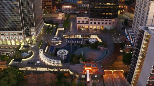 California Plaza, Downtown Los Angeles Before Sunrise - Aerial Establisher