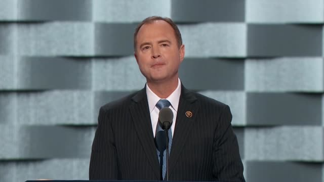 california representative adam schiff says as ranking democrat of the house select committee on intelligence tells convention delegates that america... - hand on heart stock videos & royalty-free footage