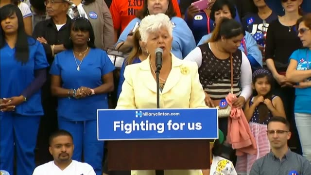 california representative grace napolitano opens a rally for presidential candidate hillary clinton telling the audience that clinton is one powerful... - bill clinton stock videos and b-roll footage