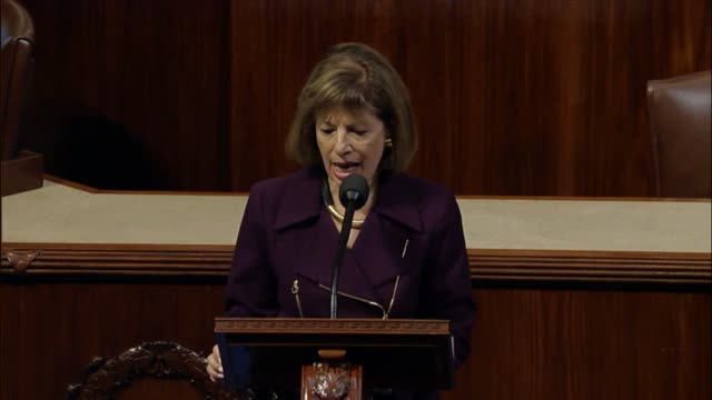 California Representative Jackie Speier delivers a critique of President Donald Trump and his first annual message to Congress at a joint session the...