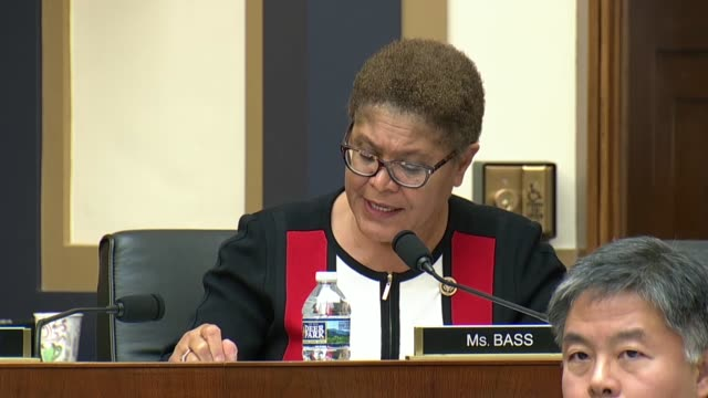 california representative karen bass engages fbi director christopher wray at an oversight hearing of the house judiciary committee about activists... - christopher a. wray stock videos & royalty-free footage