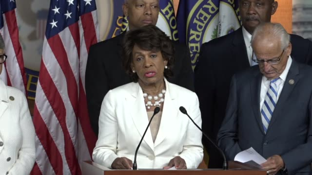 California Representative Maxine Waters says at a news conference of House Democrats that action must be taken to deal with the Trump family criminal...