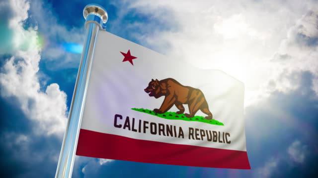 4k - california republic flagge   loopable stock video - fahnenstange stock-videos und b-roll-filmmaterial