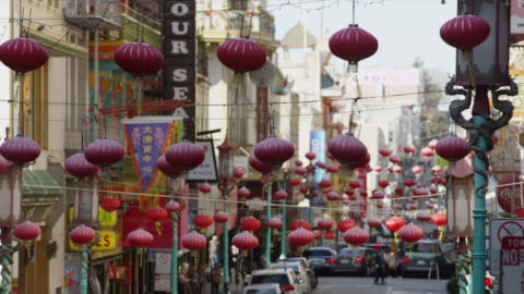 usa, california, san francisco, chinese lanterns in chinatown district - chinatown stock videos & royalty-free footage