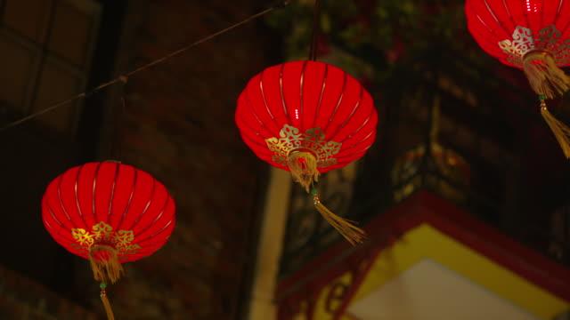 usa, california, san francisco, chinese lanterns in chinatown district - lantern stock videos & royalty-free footage