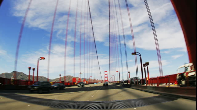 T/L, POV, FISH EYE, USA, California, San Francisco, Driving on Golden Gate Bridge