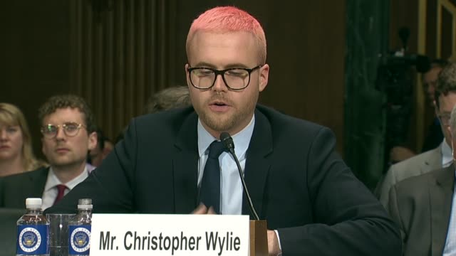 California Senator Dianne Feinstein asks former Cambridge Analytica Research Director Christopher Wylie at a Senate Judiciary Committee at a hearing...