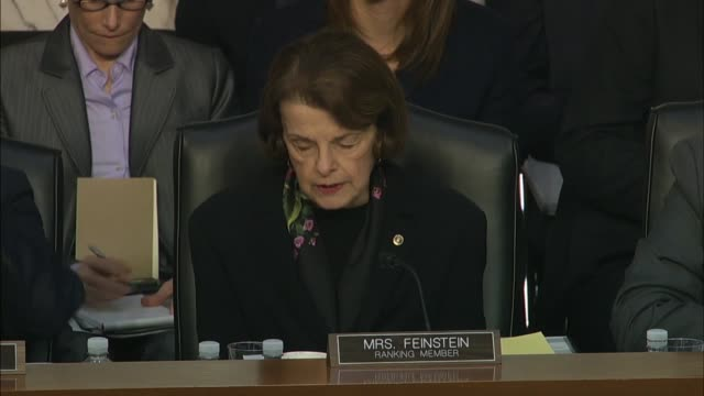 california senator dianne feinstein asks justice department inspector general michael horowitz at a senate judiciary committee hearing on his report... - michael horowitz stock videos & royalty-free footage