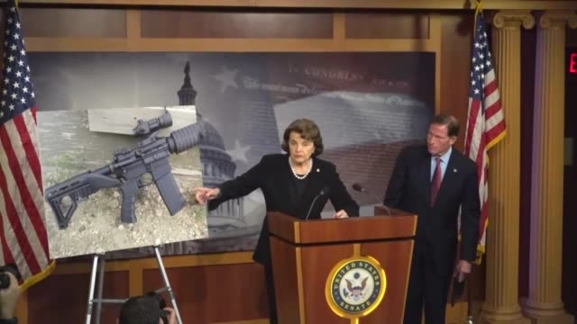 stockvideo's en b-roll-footage met california senator dianne feinstein begins a news conference days after a mass shooting in las vegas nevada a stunning incident in which a shooter... - wapen apparatuur