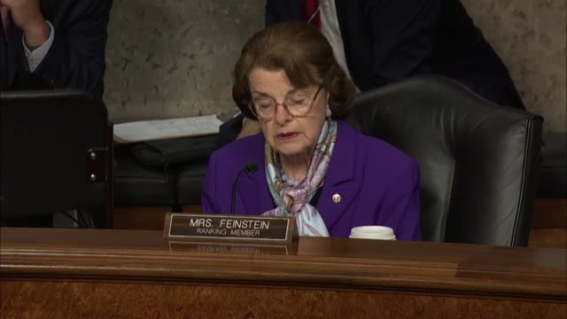 california senator dianne feinstein engages former deputy attorney general rod rosenstein at a senate judiciary committee review of pretense for the... - an answer film title stock videos & royalty-free footage