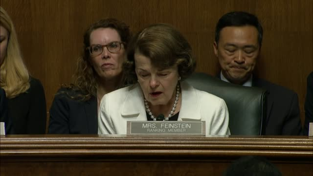 california senator dianne feinstein reads from her prepared statement at the nomination hearing of christopher wray for a 10 year term as director of... - christopher a. wray stock videos & royalty-free footage