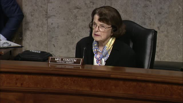 california senator dianne feinstein says at a senate judiciary committee hearing on online suppression that president donald trump and allies had... - 創始者点の映像素材/bロール
