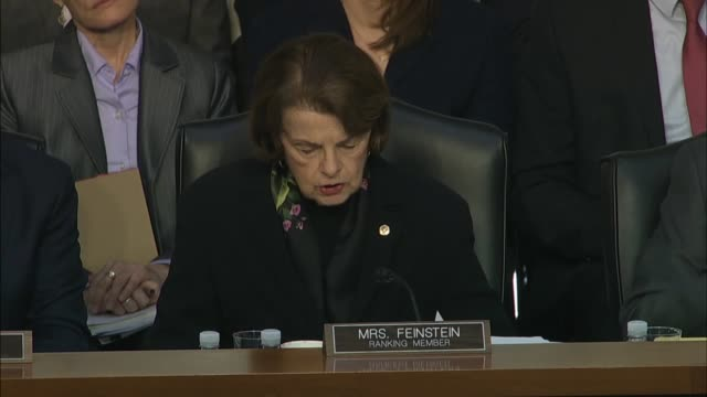 california senator dianne feinstein says at a senate judiciary committee hearing says at a hearing with justice department inspector general michael... - christopher a. wray stock videos & royalty-free footage
