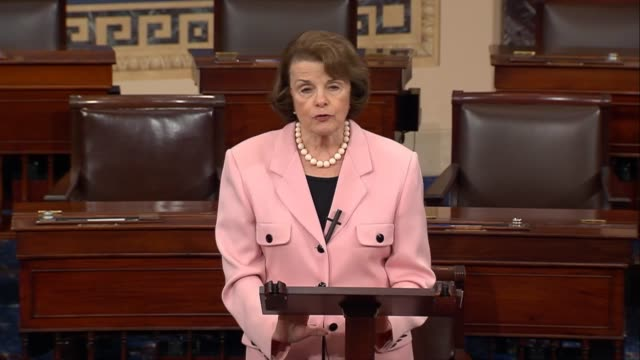 california senator dianne feinstein says that she was satisfied with responses from christopher wray that torture is wrong unacceptable illegal and... - christopher a. wray stock videos & royalty-free footage