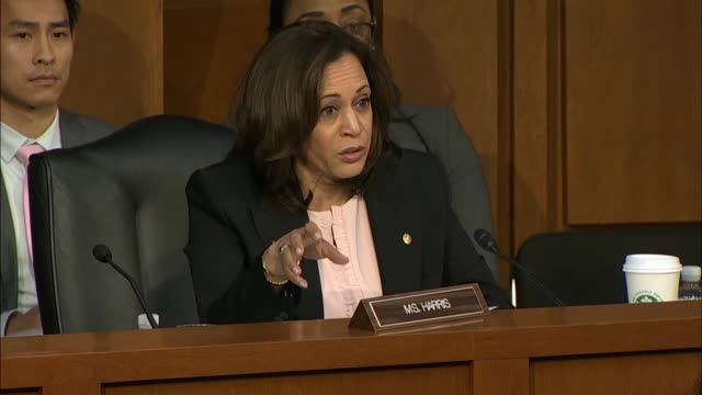 california senator kamala harris asks attorney general nominee william barr at his confirmation hearing in the senate judiciary committee that in 30... - attorney general stock videos & royalty-free footage