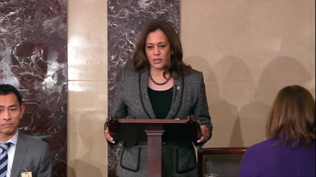 california senator kamala harris discusses historic legislation to criminalize lynching attempts and conspiracy for the first time in american... - the machine: master or slave stock videos & royalty-free footage