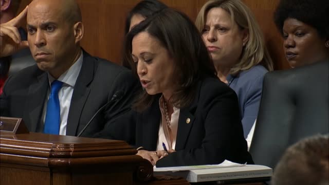 california senator kamala harris engages attorney general william barr at a senate judiciary committee hearing on the report of special counsel... - testimony stock videos & royalty-free footage