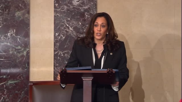 vídeos de stock, filmes e b-roll de california senator kamala harris engages in the floor debate over the nomination of judge neil gorsuch to sit on the supreme court discussing cases... - nomeação